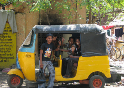 kids in rickshaw in india