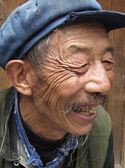 smiling old man in china