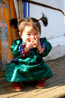 little girl in mongolia